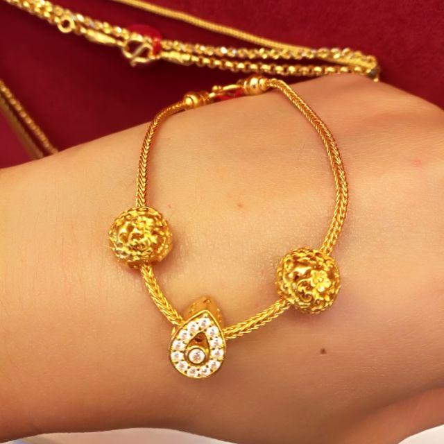 สร้อยมือทองแท้ 96.5/%  น้ำหนักทอง 1 บาท 16.5cm. ราคา 28,600 บาท