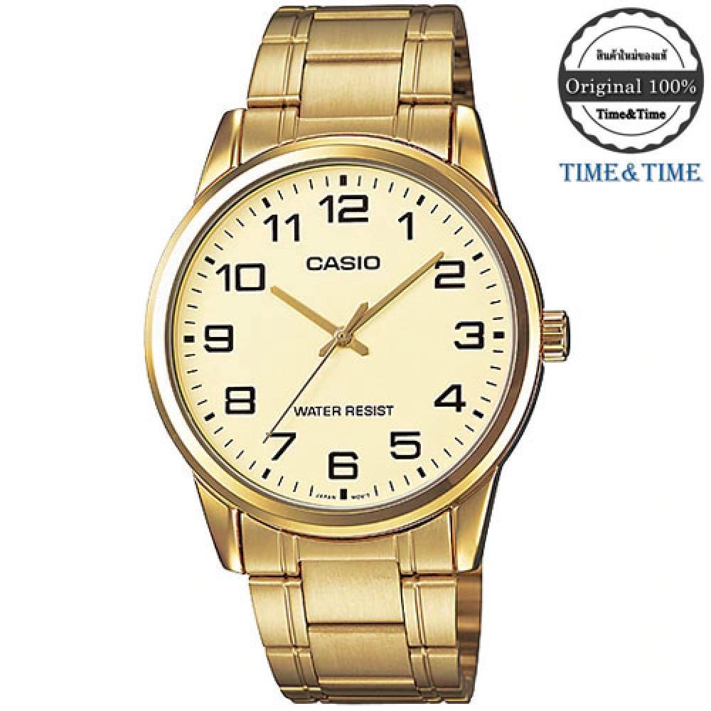 จัดส่งฟรีTime&Time CASIO Standard นาฬิกาข้อมือผู้ชาย สีทอง สายสแตนเลส รุ่น MTP-V001G-9BUDF