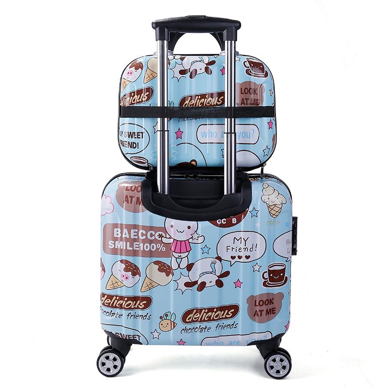 กระเป๋าเดินทาง【สดใสพื้นผิว หลายสีตัวเลือก】18นิ้วกระเป๋าเดินทางขนาดเล็กหญิงล้อสากลกระเป๋าเดินทางมินิน่ารัก16น่ารักค่ะCOD