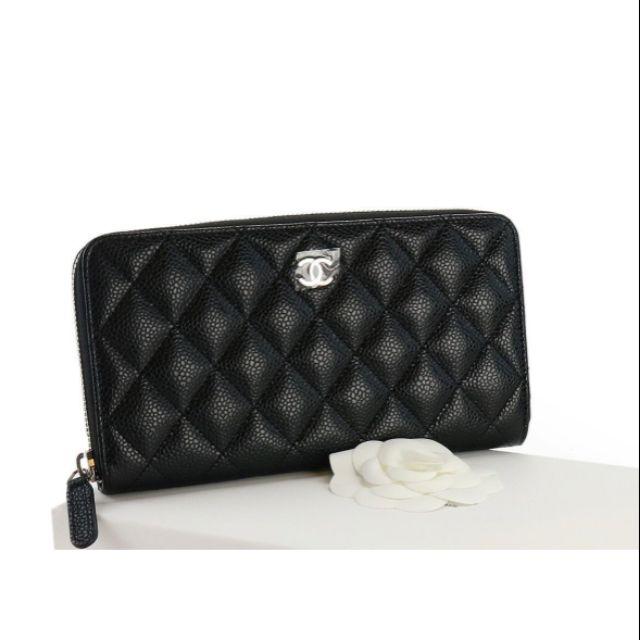 กระเป๋าสตางค์ CHANEL ZIPPY WALLET BLACK CAVIAR SHWปี2019