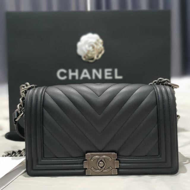 "Chanel boy chevlon  10"" Holo26 ออกช้อปไทย มีใบเสร็จตัวจริง"