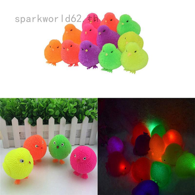sparkworld62 Light Up Flashing Chick Toys Puffer Yo Yo Chicken Toy Stress Relief Squeeze Toys