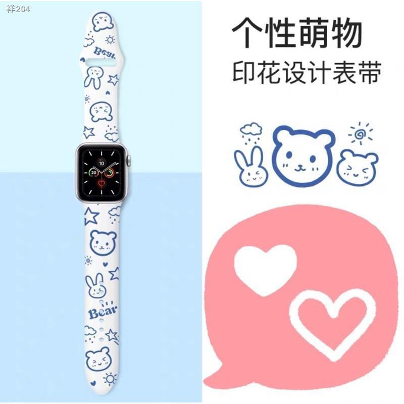 ○◎❏สาย สำหรับ AppleWatch Sport สาย สำหรับ AppleWatch 6 SE 1/2/3/4/5 สายยาง ลาย strawberry bear