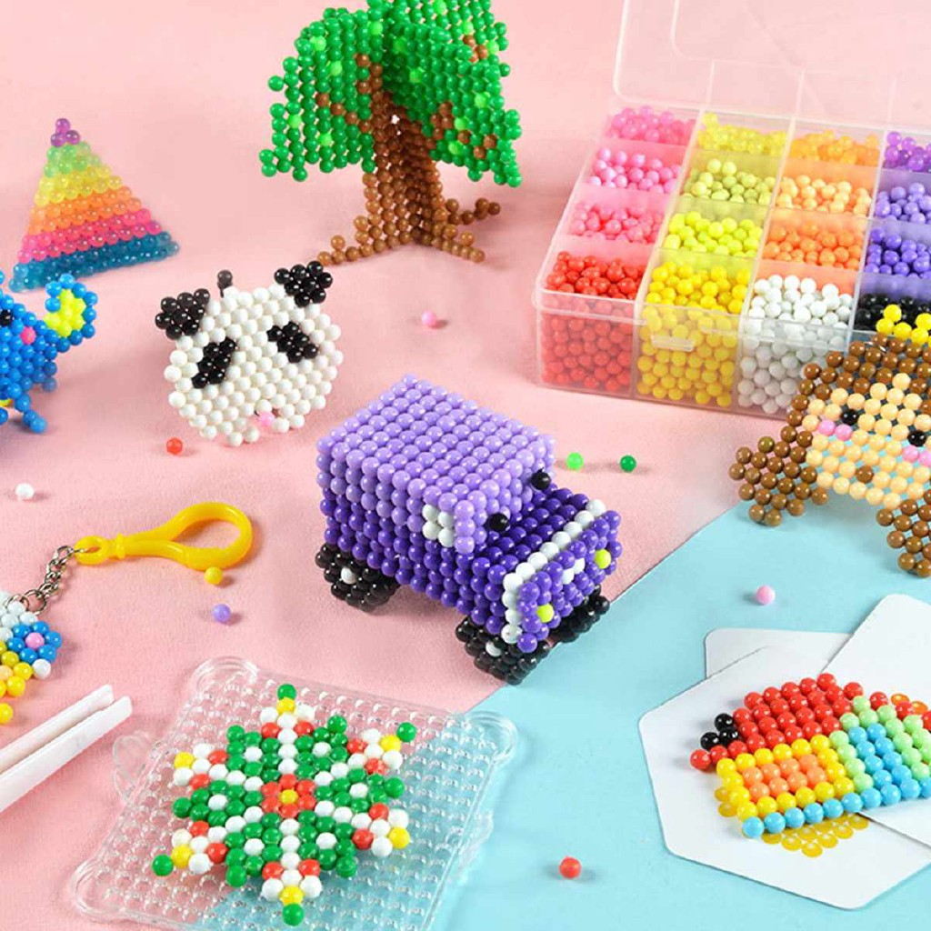 24 Grids Fuse Beads Magic Sticky Balls Bead Art Crafts Toys for Kids