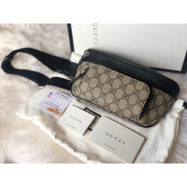 New Gucci Beige & Black GG Supreme Belt Bag(ขายแต่ของแท้)