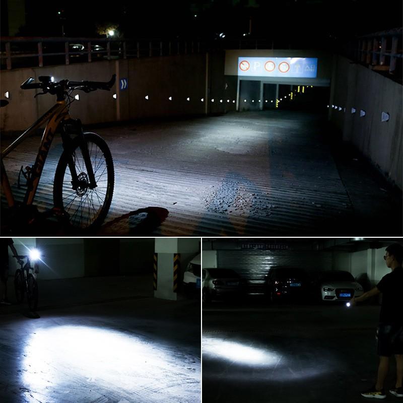 RockBros Bicycle Mountain Bike Headlights Solar Charging Horn Light Flashlight