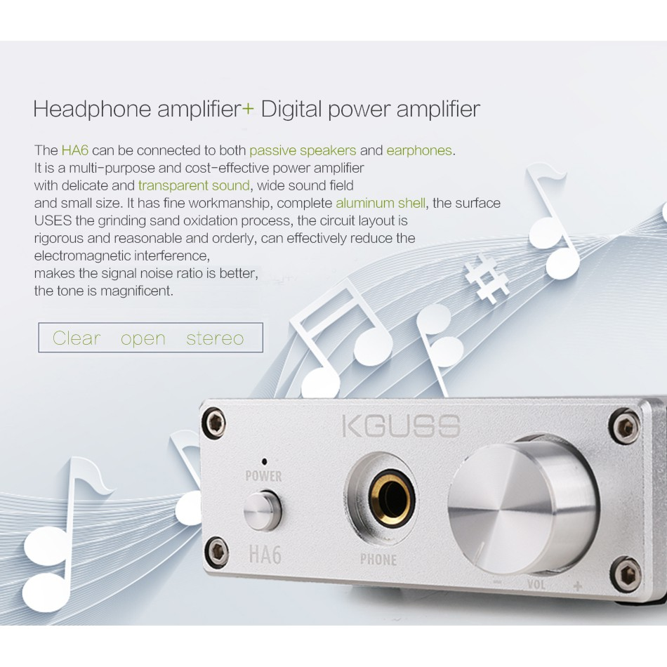 KGUSS HA6 TPA3116D2 NE5532 MINI HIFI High Power Audio Amplifier with