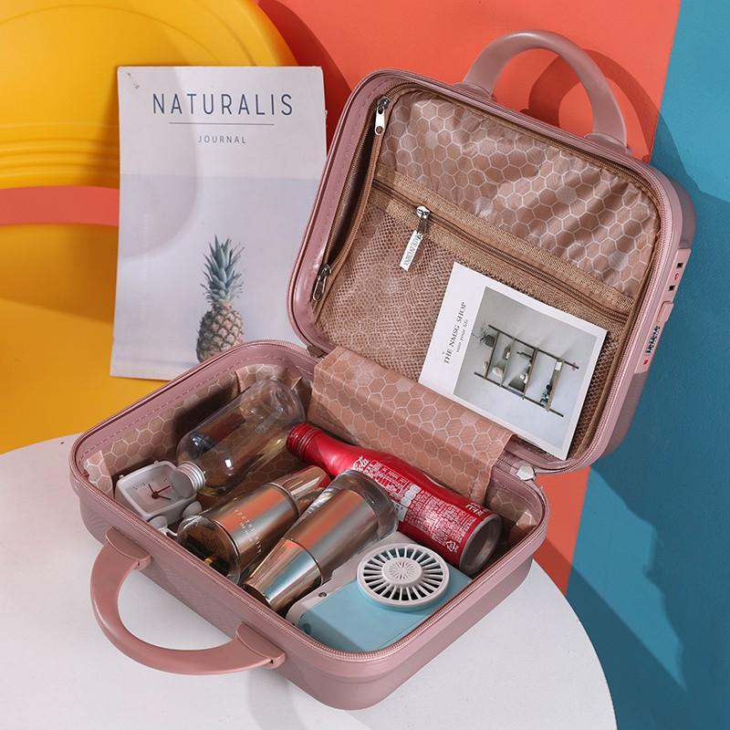 นิ้ว กระเป๋าลาก กระเป๋าเดินทางล้อคู่ แข็งแรง ยืดหยุ่นสูง น้ำหนักเบา ตัวกระเป๋ากันน้ำกระเป๋าเครื่องสำอางแบบพกพา14นิ้วการ์