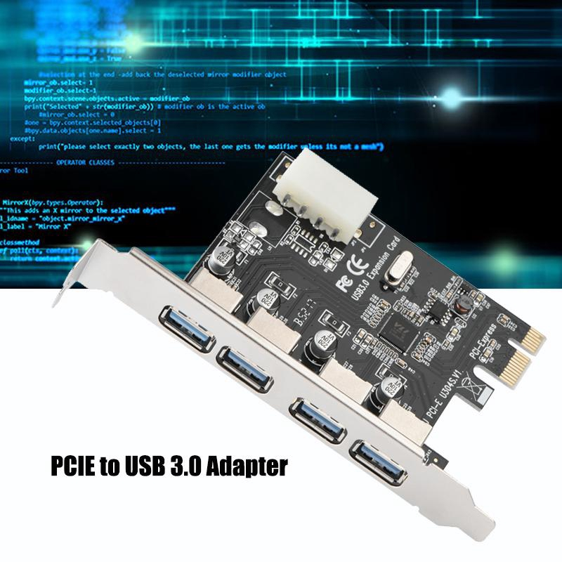 SuperSpeed PCIE Express to 4 PORTS USB 3.0 Expansion Card Adapter Windows B2
