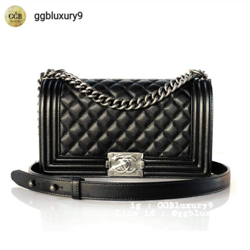 "New Chanel Boy10"" medium black caviar Ruthenium full set price : 220000฿"