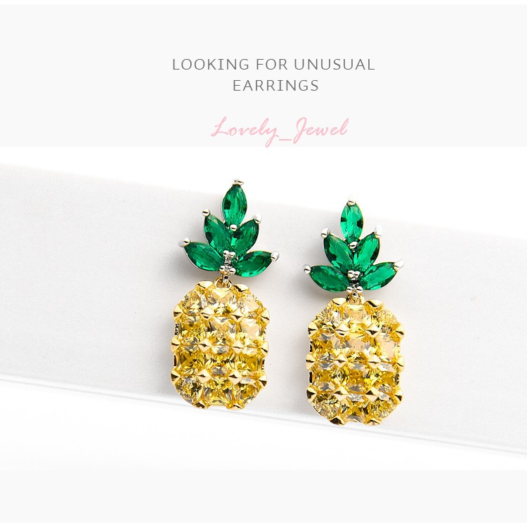 NEW Premium Quality ต่างหูเงินแท้  Pineapple Earrings ---925 Sterling Silver---