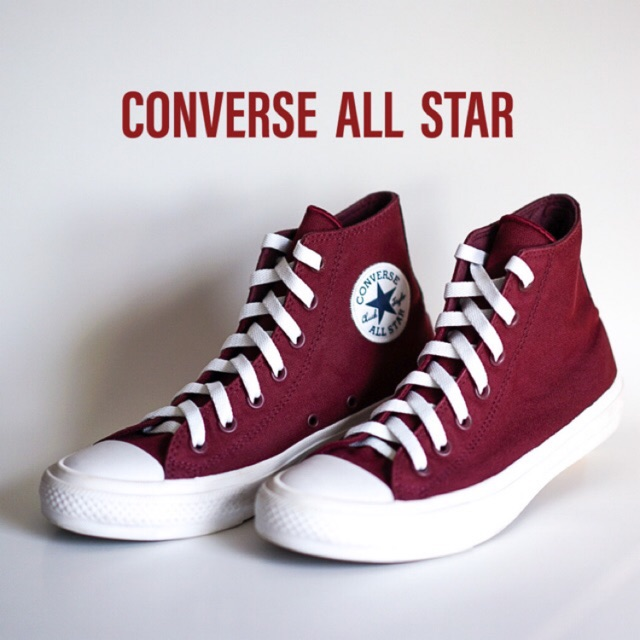 รองเท้า คอนเวิร์ส Converse All Star II Hi Deep Bordeaux White มือสอง สีแดง รองเท้าหุ้มข้อ ของแท้