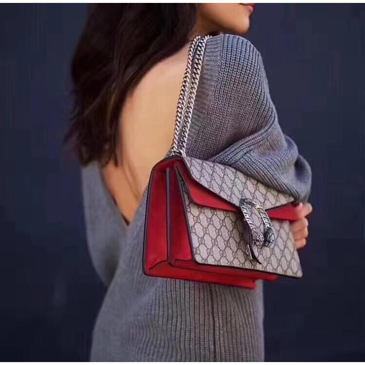 Gucci Dionysus ผู้หญิงสไตล์กันน้ำสบาย ๆ messenger กระเป๋าแต่งหน้ากระเป๋าโทรศัพท์หรูหราข้ามร่างกายกระเป๋าสะพาย