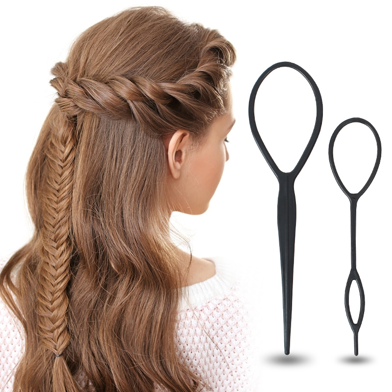 4Pcs Easy Plastic Topsy Tail Hair Braid Ponytail Styling Maker Clip Tool Black