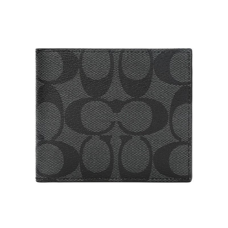 ♀۞COACH wallet กระเป๋าสตางค์ใบสั้นผู้ชายธุรกิจ PVC สีดำและสีเทา 66551 QBMI5