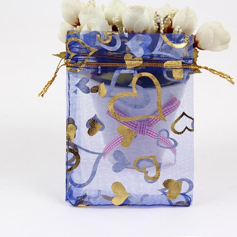 100PCS Christmas Wedding Party Pouches Organza Jewelry Mini Gift Bags Drawstring
