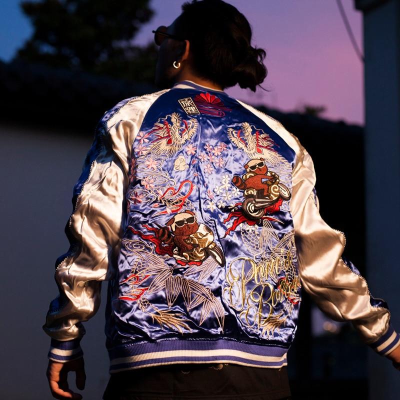 Men Boys Phoenix Sakura Dragon Embroidered Heavy Work Sukajan Souvenir Jacket Coats Streetwear High Street Long Sleeve