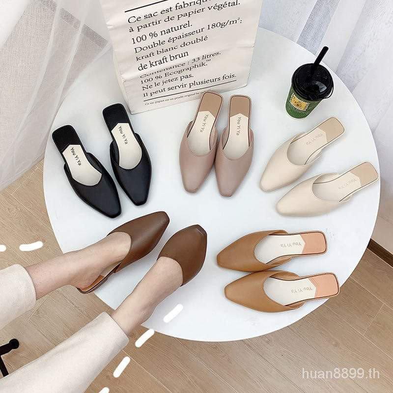 วันจัดส่งรองเท้าผู้หญิงแฟชั่นมี5สี รองเท้าคัชชู ปิดหัวเปิดส้นแนะนำเพิ่ม2ไซส์พื้นแบนนิ่มสวมใส่สบาย