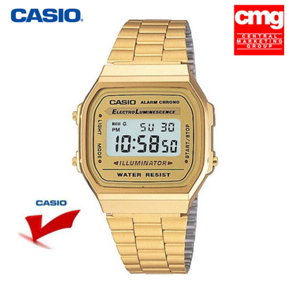 จัดส่งฟรีนาฬิกา Casio A-168WG (รับประกัน 1 ปี) นาฬิกาข้อมือ สายสแตนเลส รุ่น A168WG-9WDF - Gold-สีของสายนาฬิกา:Gold