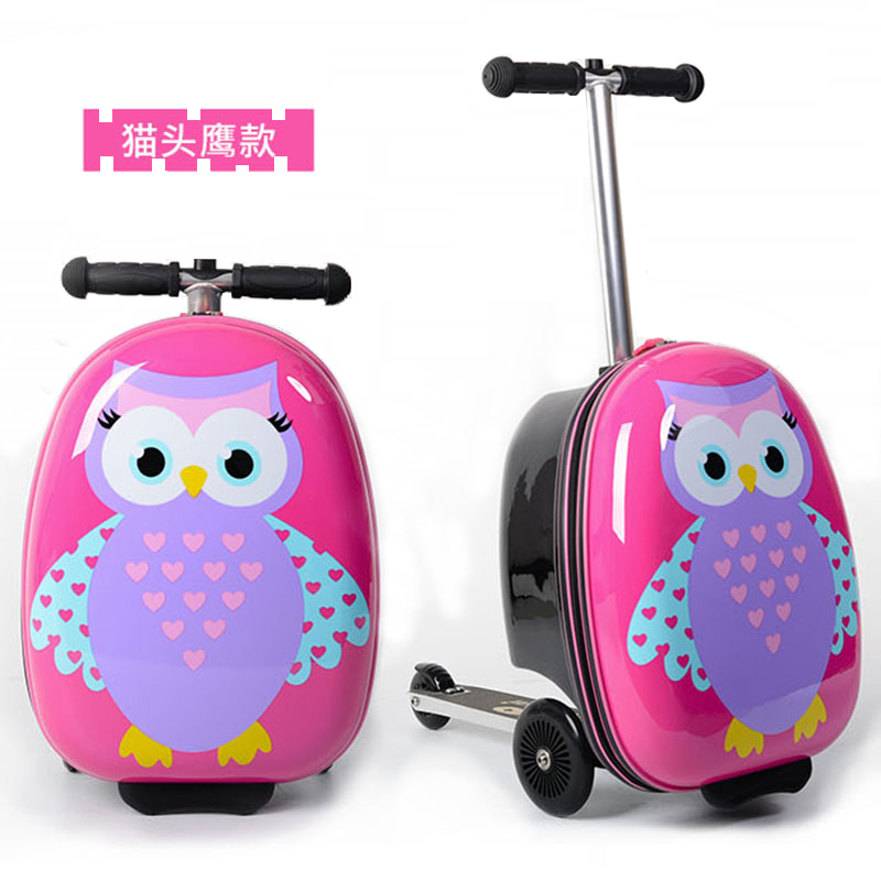 ≒♡ กระเป๋าเดินทางล้อลาก กระเป๋าเดินทางล้อลากใบเล็กเด็กสกู๊ตเตอร์กระเป๋าพับกรณีรถเข็นชายและหญิงเด็กกระเป๋าเดินทางการ์ตูนน