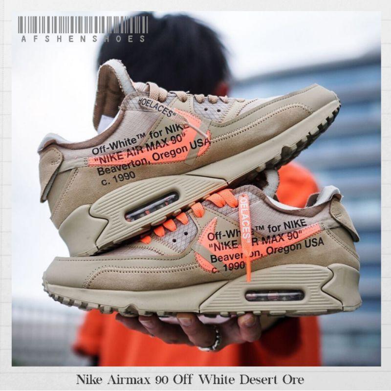 Original Nike Airmax 90 Off White Desert Ore รองเท้าผ้าใบลําลองสีขาว