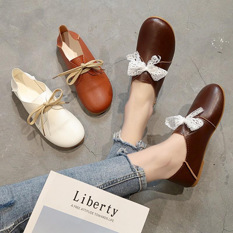 HOT!!! รองเท้าคัชชูผู้หญิง คัทชูผู้หญิง รองเท้าโลฟเฟอร์ แบบหุ้มส้น พื้นเตี้ย หนังนิ่ม สวมใส่สบาย รหัส