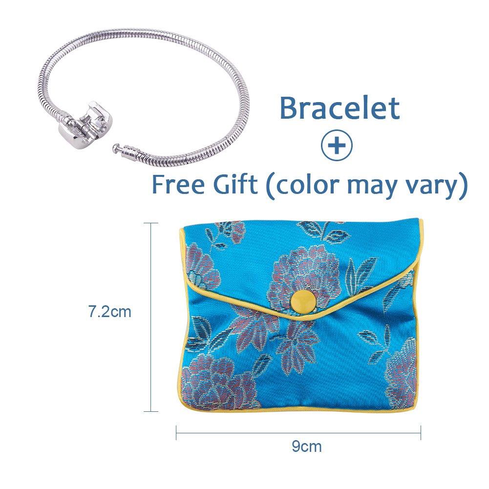 6 pcs Fashion Snake Chain Bead Fit European  Silver P Bracelet