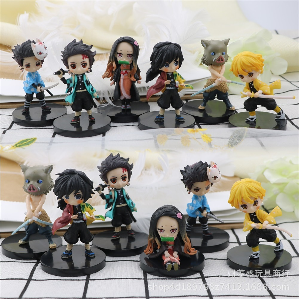 6Pcs/Set Demon Slayer Tanjirou Nezuko Zenitsu Inosuke Giyuu PVC Action Figure Model Toys