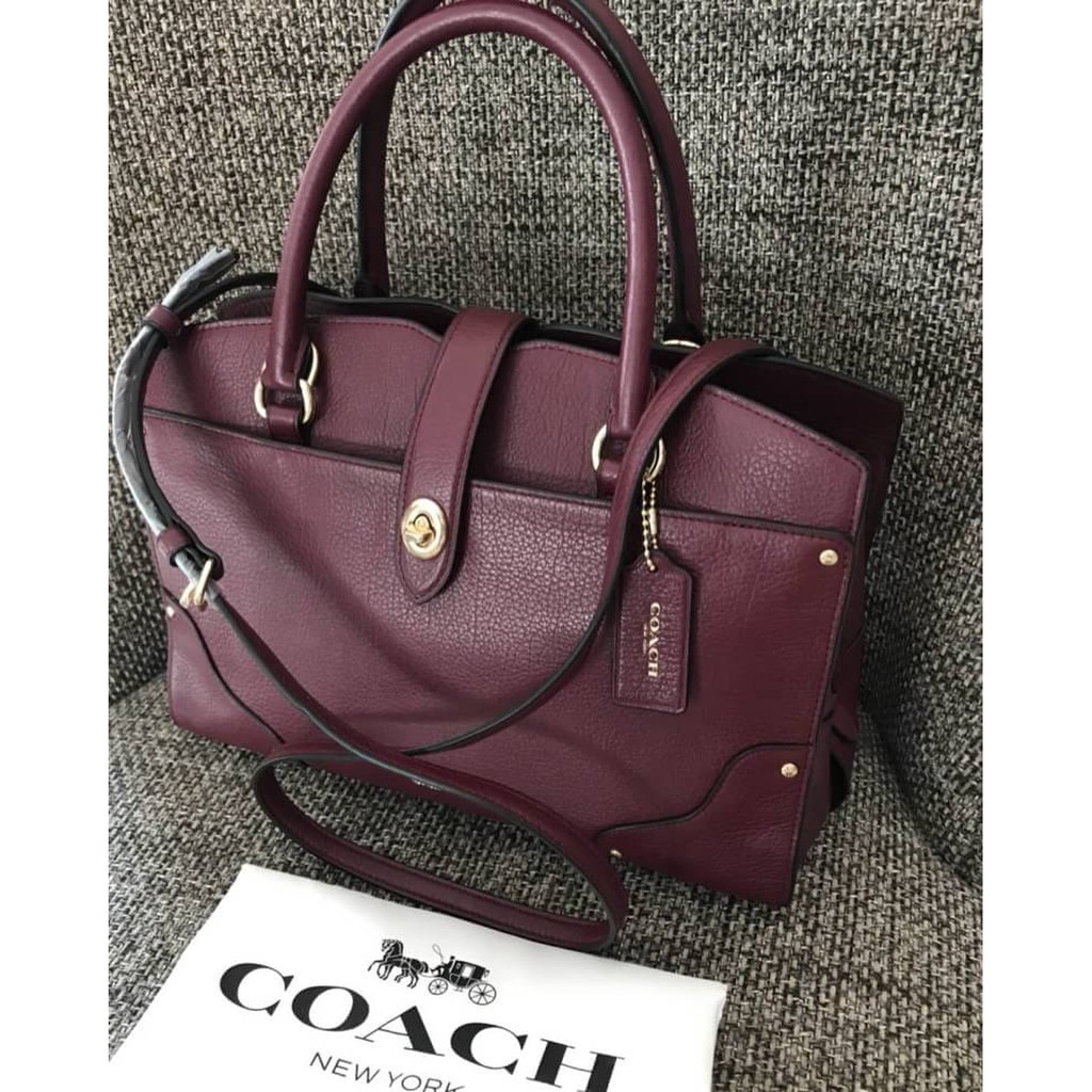 228ee3cf8 Coach 25019 Mercer Satchel 30 in Grain Leather Burgundy (งาน Shop มีถุงผ้า)  | Shopee Thailand