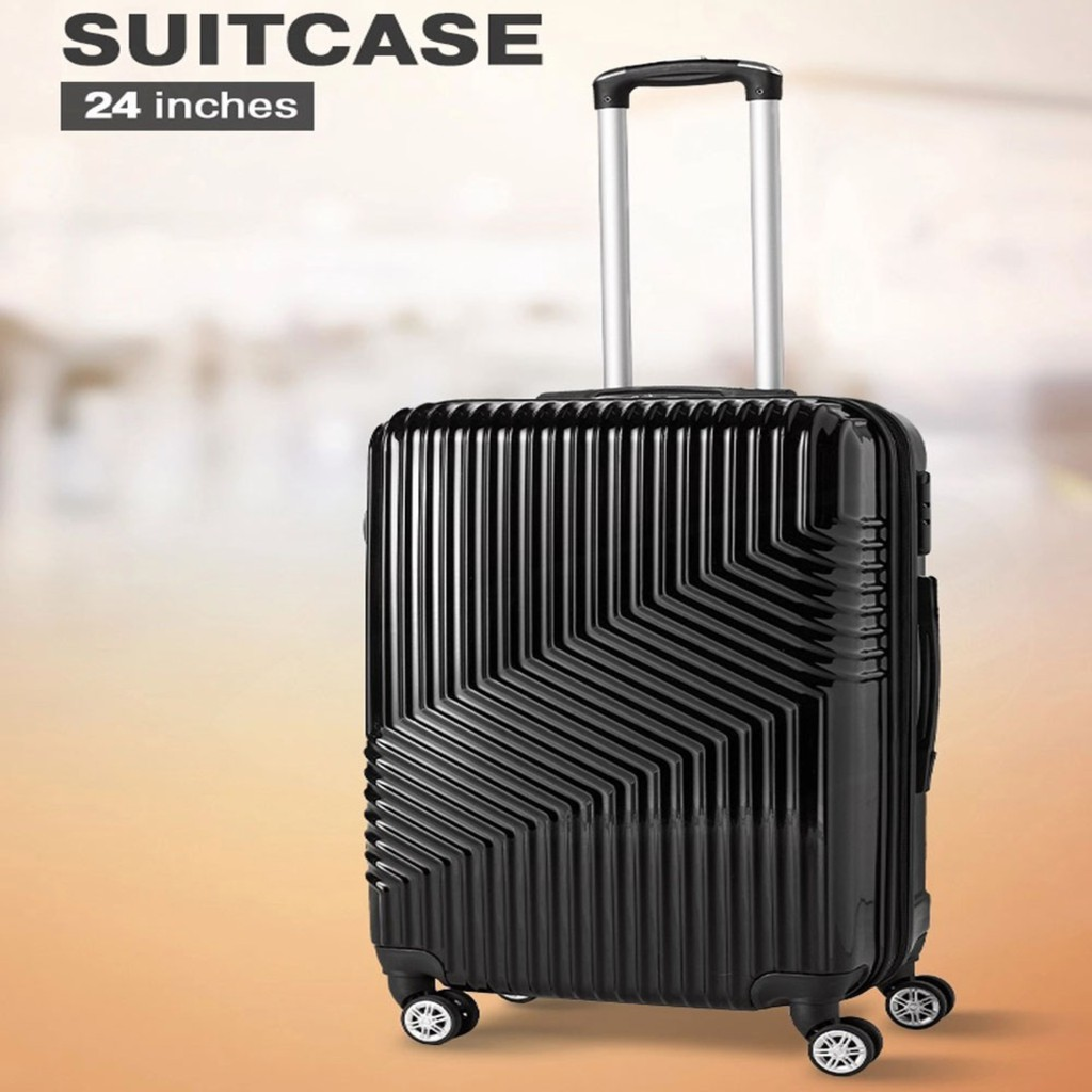 กระเป๋าเดินทางขนาด 24 นิ้ว กระเป๋าเดินทาง สีดำ แข็งแรง ทน