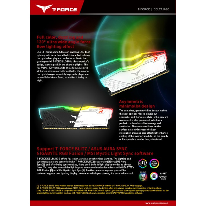 RAM PC (แรมพีซี) TEAM T-FORCE DELTA RGB BLACK /Bus 2400 Warranty LT