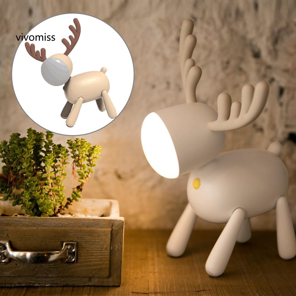 Vm Elk Deer Rotary Night Light Tail Adjustable Timing Usb Lamp Kids Bedroom Decor Shopee Thailand