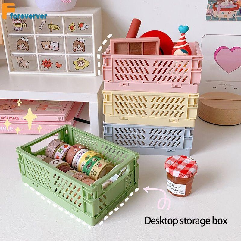 Korean mini folding plastic storage box, tidy handbook, adhesive tape stationery,small basket Student Desktop Multifunctional for store stationery, books FOREVERVER