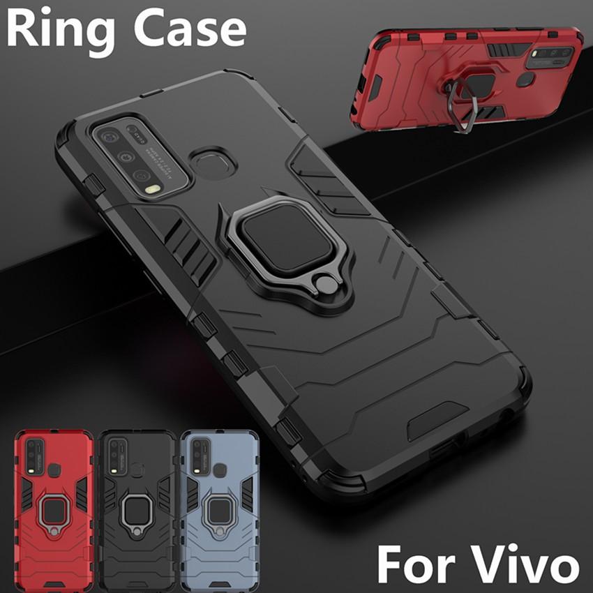 เคสไฮบริด มีแหวนตั้งได้ เคสกันกระแทก Vivo Y20 Y30 Y50 V17 Y12 Y19 Y15 Y17 X50 S1 Pro V19 Neo NEX 3 NEX3 เคสโทรศัพท์แม่เหล็กกันกระแทกเคสแข็ง เคสปก Phone Case Cover