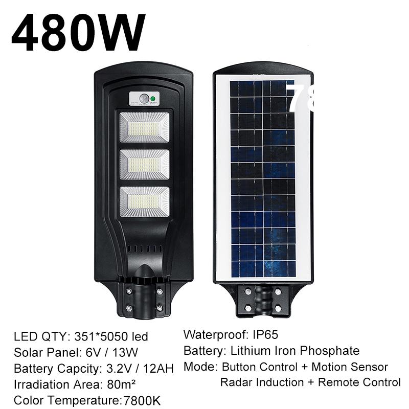 480W 48000LM 351 LED Solar Street Light Motion Sensor Wall Lamp Garden Outdoor