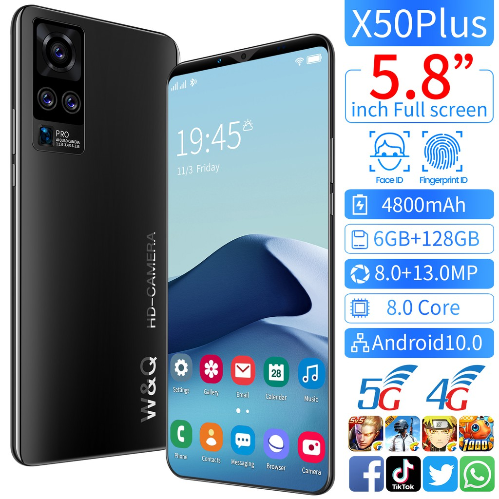 Huawei X50 โทรศัพท์ล่าสุด ของแท้ 100% 5.8 นิ้วเต็มหน้าจอ 3G/4G สมาร์ทโฟน Face Recognition 4 + 64GB มือถือราคาถูก Huawei