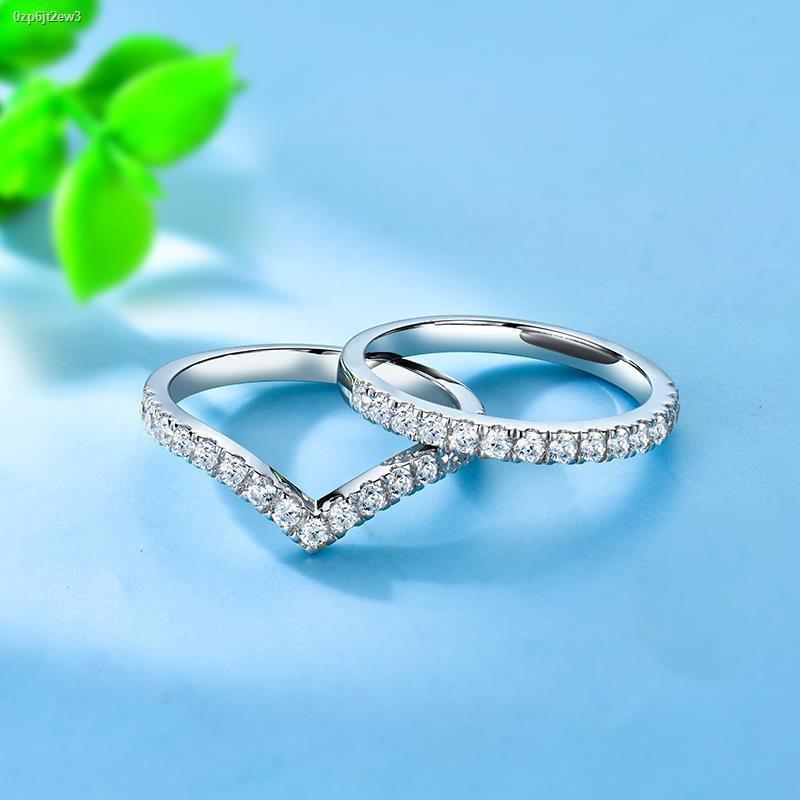 ราคาขายส่ง❁◈⊕เครื่องประดับ Zhuodie จำลองเพชรแถวแหวนเพชรเงินสเตอร์ลิงแหวนเพชรแถวชุบทองคำขาว 18k แหวนยามแหวนแหวนคู่