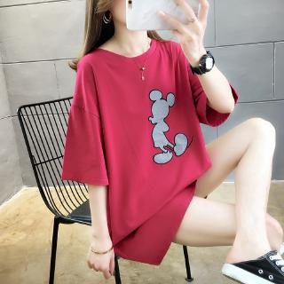 Review Summer new Korean loose middle long women cotton short sleeve tops