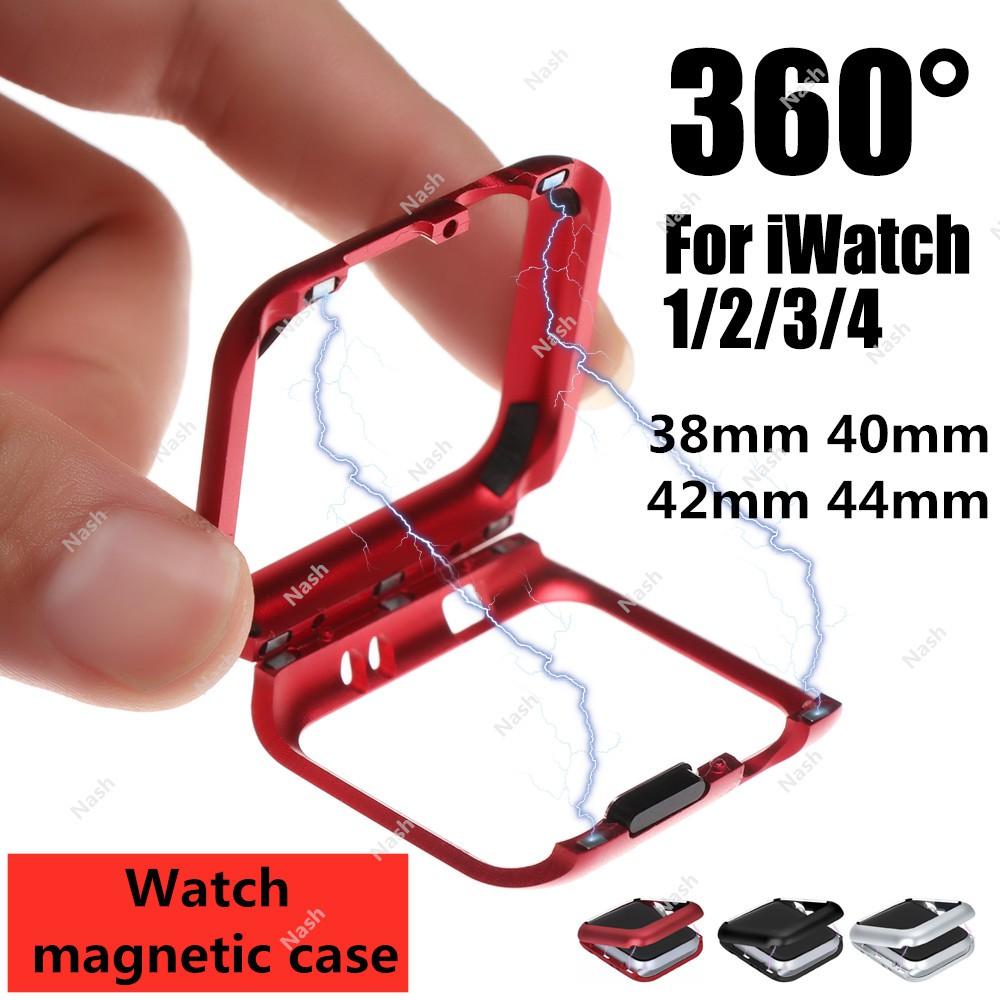 ตัวเรือนนาฬิกาแม่เหล็ก Magnetic Metal Frame Protective Case for Apple Watch 38MM 42MM Series 1 2 3 for iwatch 4 5 6 SE 40MM 44MM Cover Bumper