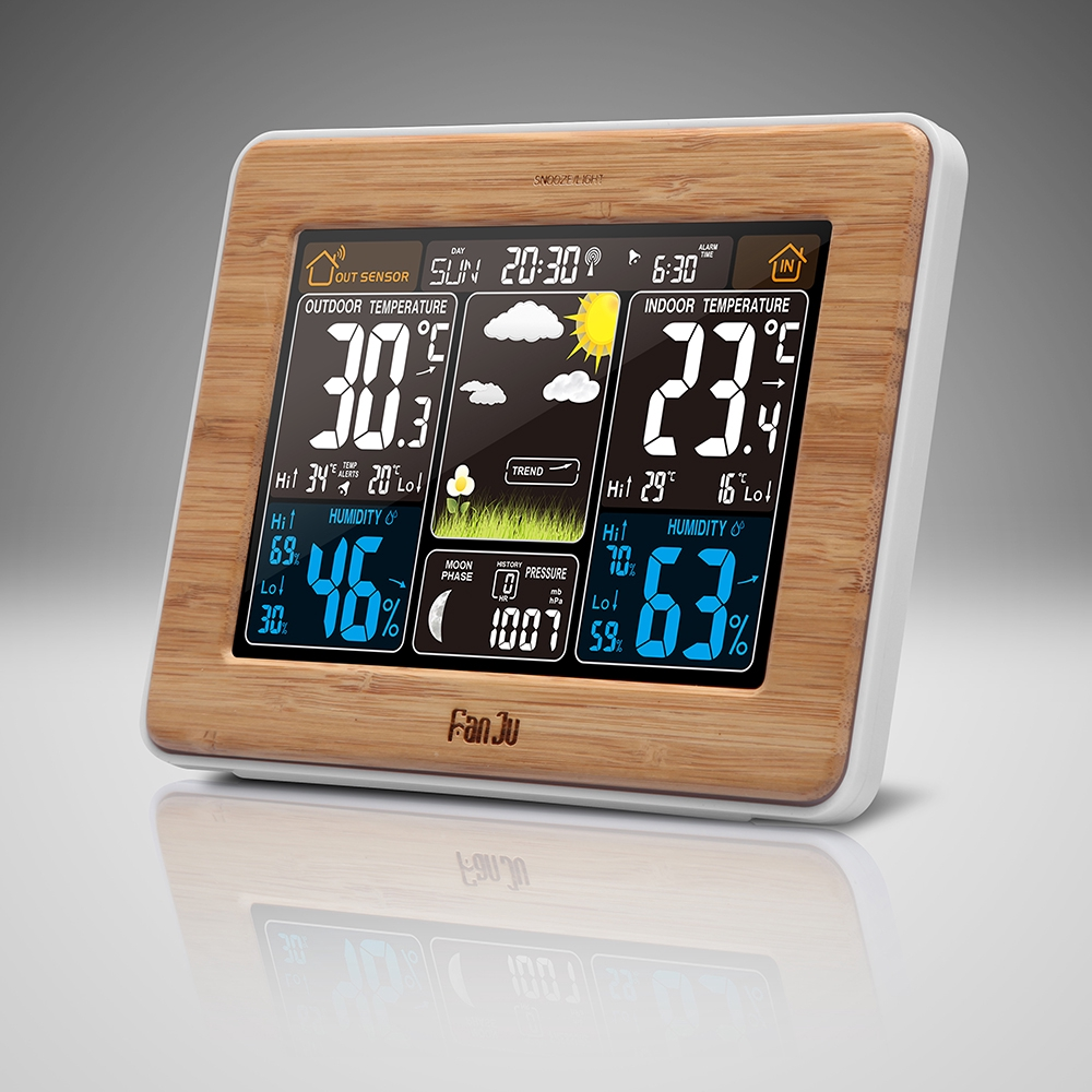 Color : Black Wireless Weather Station Indoor Outdoor Hygrometer Thermometer Barometer Moonphase Humidity Temperature Sensor Color LCD Backlit