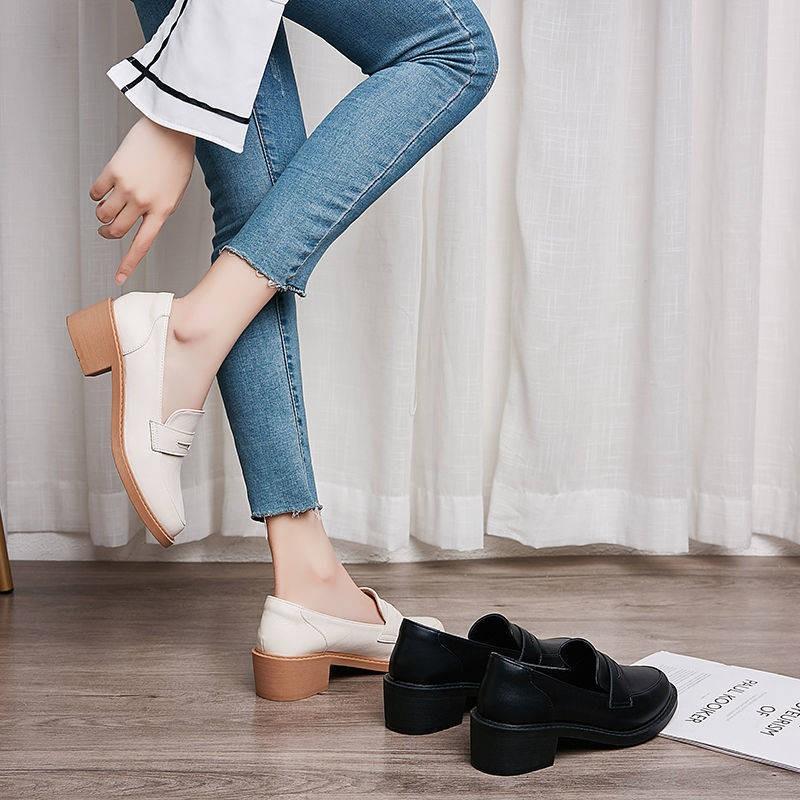 รองเท้าคัชชู ร้องเท้า รองเท้าผู้หญิง ♤DA YIDI หนังรองเท้าผู้หญิง 2021 ใหม่น้ำรองเท้าหนังขนาดเล็กเด็กนักเรียนเกาหลีของ JK