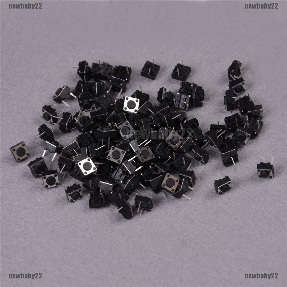 100Pcs Tactile Push Button Switch Tact Switch 6X6X4.3mm 4-pin DIP