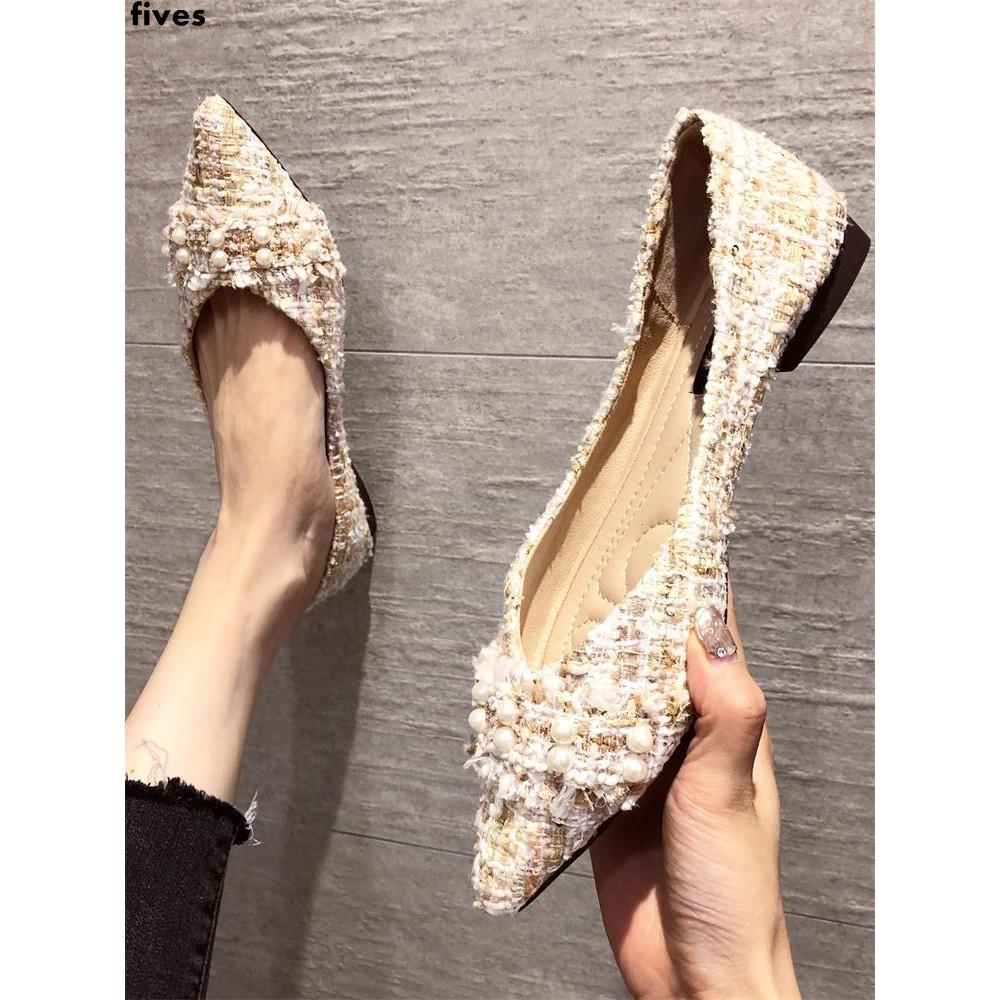 รองเท้าคัชชูหัวแหลมทุกคู่แบนปากตื้นรองเท้าเดียวรองเท้าถั่วผู้หญิง