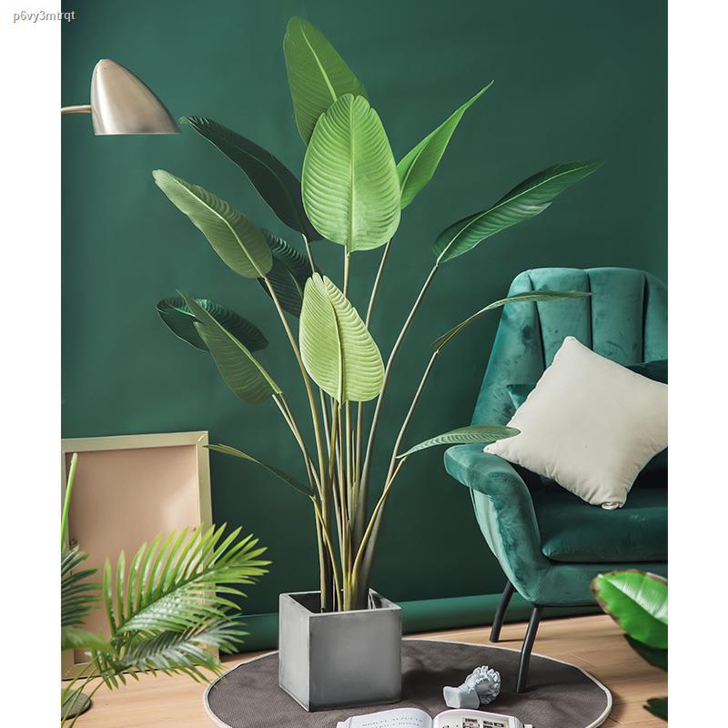 การจำลองพันธุ์ไม้อวบน้ำ♨❡พื้นตกแต่งต้นไม้จำลองลมนอร์ดิกอินส์ พืชสีเขียวปลอมขนาดใหญ่ ห้องนั่งเล่นในร่ม กระถาง เครื่องประด