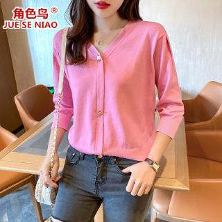 Review New 2020 spring and autumn thin coat women's knitted sweater three-quarter sleeve v-neck cardigan