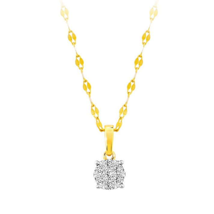 AURORA Diamond จี้เพชรแท้ พร้อมสร้อยอิตาลี 18K คอลเลคชั่น Enjoy Raining ตัวเรือนสีทอง เพชร 7เม็ด 0.11 กะรัต