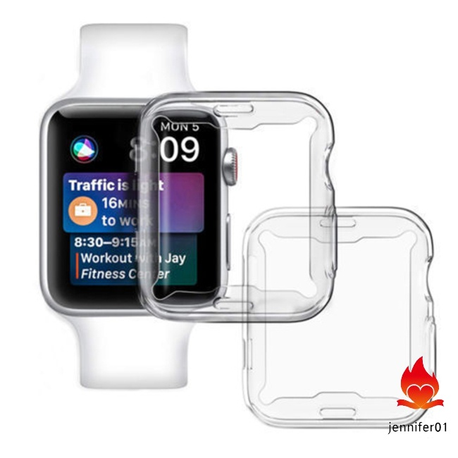 jennifer Ultra-thin Soft TPU Transparent Protector Case for Apple Watch Series 4 44mm 40mm