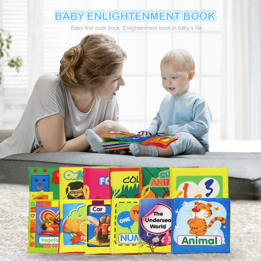 Soft Cloth Books Rustle Sound Infant Books Baby Books Quiet Books Educational Stroller Rattle Toys for Newborn Baby 012
