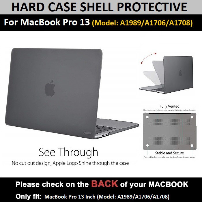 For Pro เคส A1706 สีเทาเข้ม Qcase With Case Macbook Shell 13 Hard Touchbar A1708 ModelsA1989 8vnmNO0w