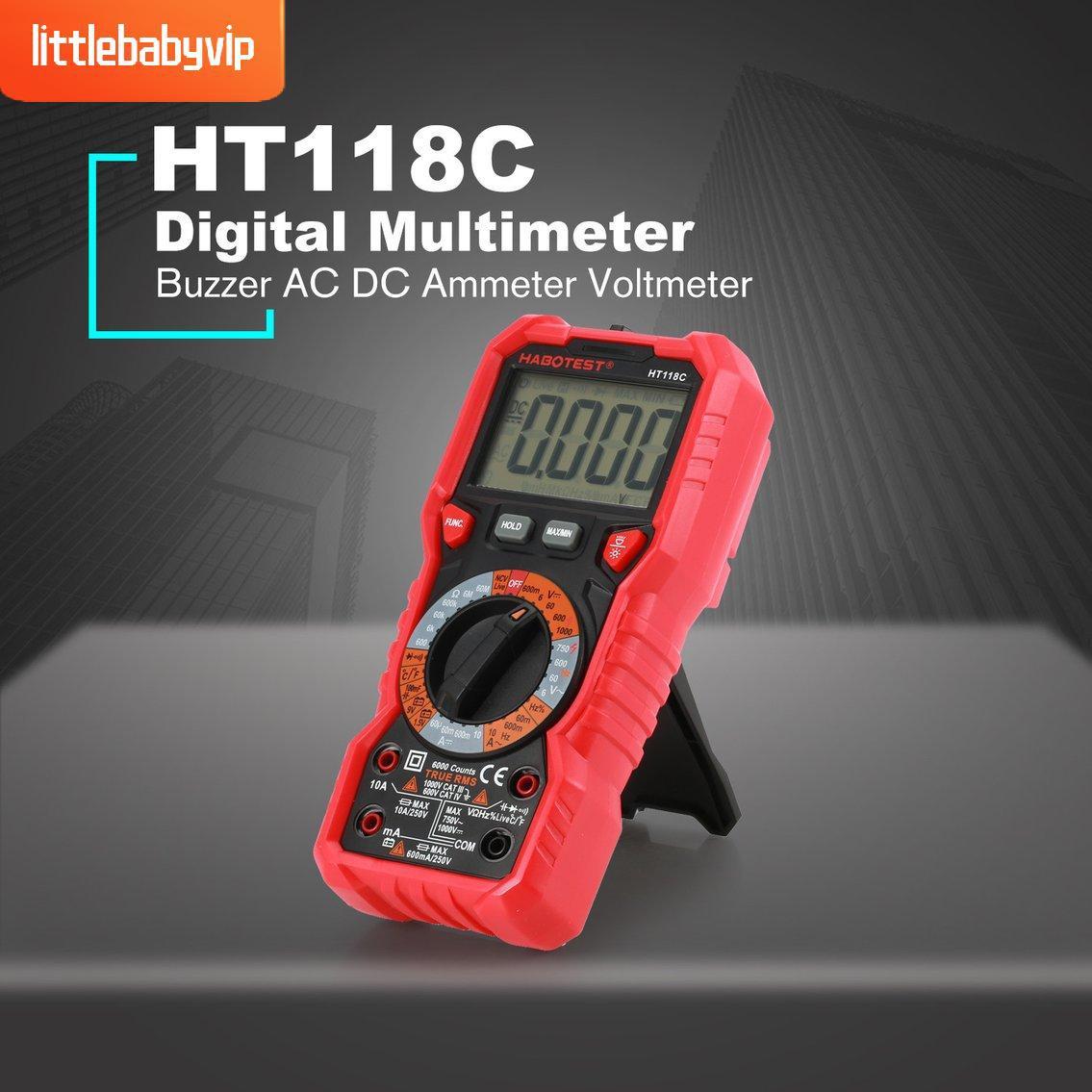 Ht 118 C มัลติมิเตอร์ดิจิตอลไฟแบ็คไลท์ Buzzer ป้องกันการสูญหาย